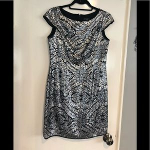 Adrianna Papell Sequin Silver Dress